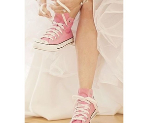 bride, pink, and shoes image