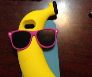 banana, pink and blue, and sun glasses image
