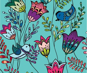 bird, flowers, and blue image