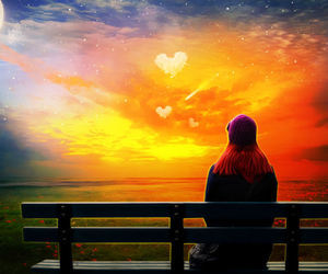 heart and sunset image