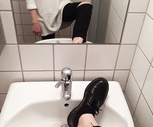 bathroom, black and white, and boots image