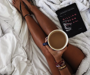 coffee, book, and bed image