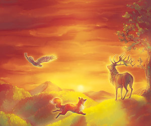 the fox and the stag and the raven image