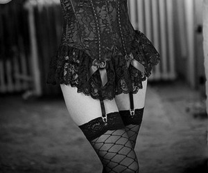black and white, corset, and b&w image