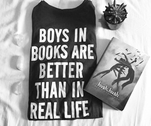 black and white, becca fitzpatrick, and book image