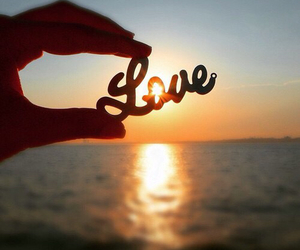 love, romantic, and sunset image