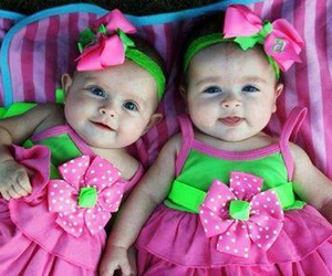 baby, pink, and twins image