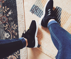 adidas, black, and zara jeans image