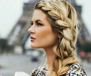 braid, hair, and flowers image