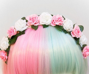 hair, flowers, and pink image