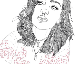 drawing, outline, and grunge image