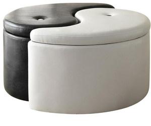 black white, ottoman, and storage image