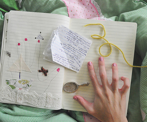 hand, notebook, and book image