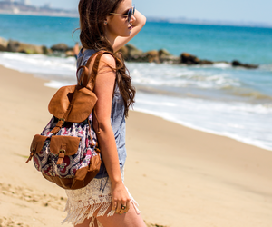 backpack, beach, and denim jacket image
