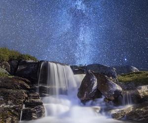 waterfall, stars, and sky image