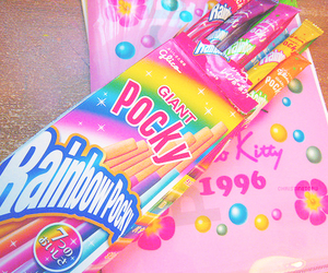 pocky, rainbow, and food image
