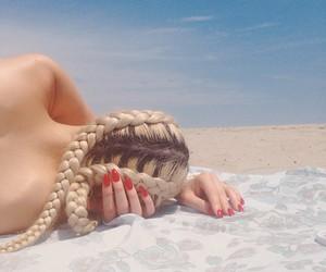 braid, beach, and hair image