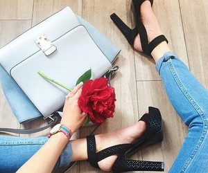 shoes, black, and rose image