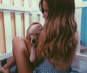 girl, hair, and dog image