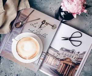 coffee, flowers, and magazine image