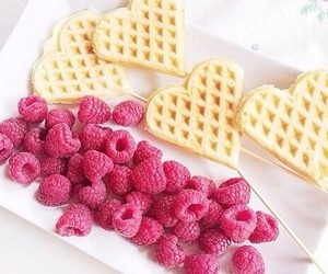 food, waffles, and raspberry image
