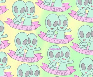 alien, background, and kawaii image