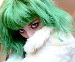 green hair, girl, and green image