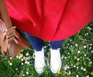 converse, flowers, and red image