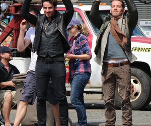 once upon a time, robin hood, and captain hook image