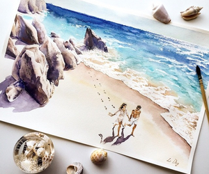 art, beach, and watercolor image