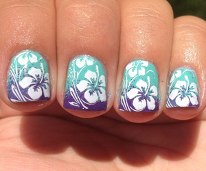 nails, flowers, and summer image