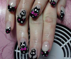 black, cats, and dots image