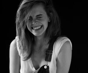 emma watson, smile, and black and white image
