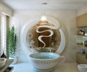 bathroom, bath, and cup image