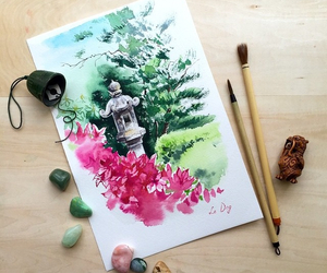 art, talented artist, and watercolor drawing image