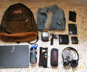 backpack, blackberry, and book image