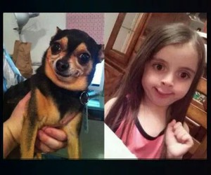 funny girl, funny dog, and funny picture image
