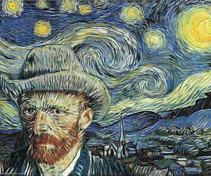 art, portret, and starry night image
