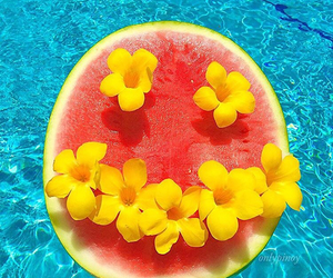 blue, pool, and watermelon image