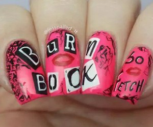 nails, burn book, and mean girls image