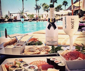 food, sushi, and champagne image