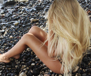 blonde hair, long hair, and summer image