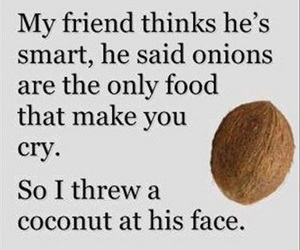 funny, coconut, and quote image