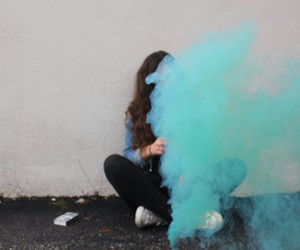 blue, girl, and smoke image