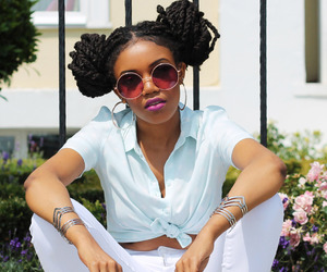 black woman, fashion, and sunglasses image