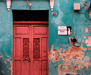 pink, teal, and door image