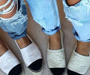 chanel, fashion, and ripped jeans image