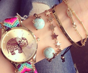 watch, bracelet, and elephant image