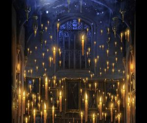 candles, great hall, and harry potter image
