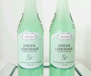 bottle, green, and drink image
